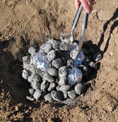 In the coals