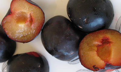 Cut in half plums